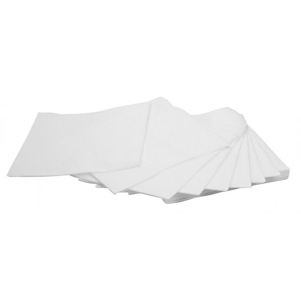 Serviettes cocktail ouate blanche 20x20cm (x 100)