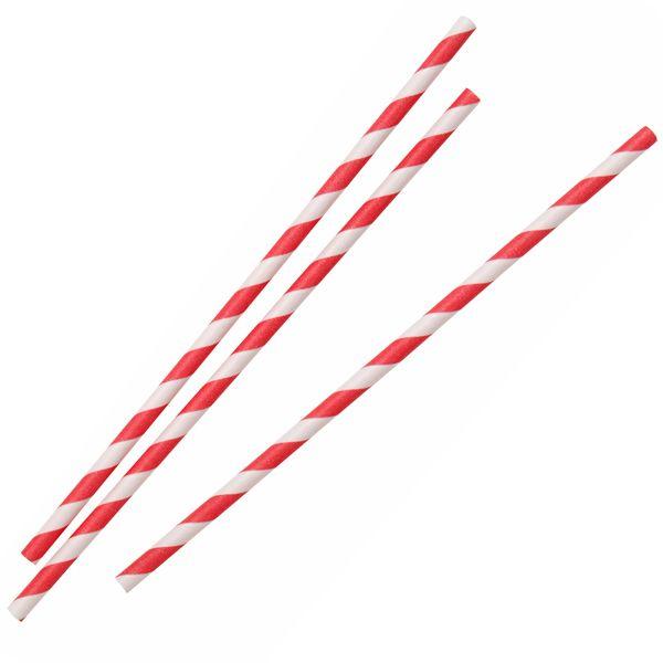 Pailles Papier biodégradables Rouge et Blanc 20cmx6mm (x250)